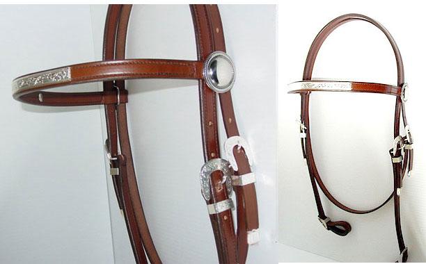 Fancy Leather Riding BridleW/Montana Silver Trim