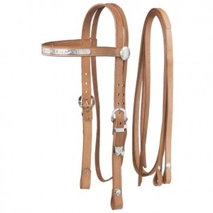 Western Draft Size Headstall Accented With Silver.